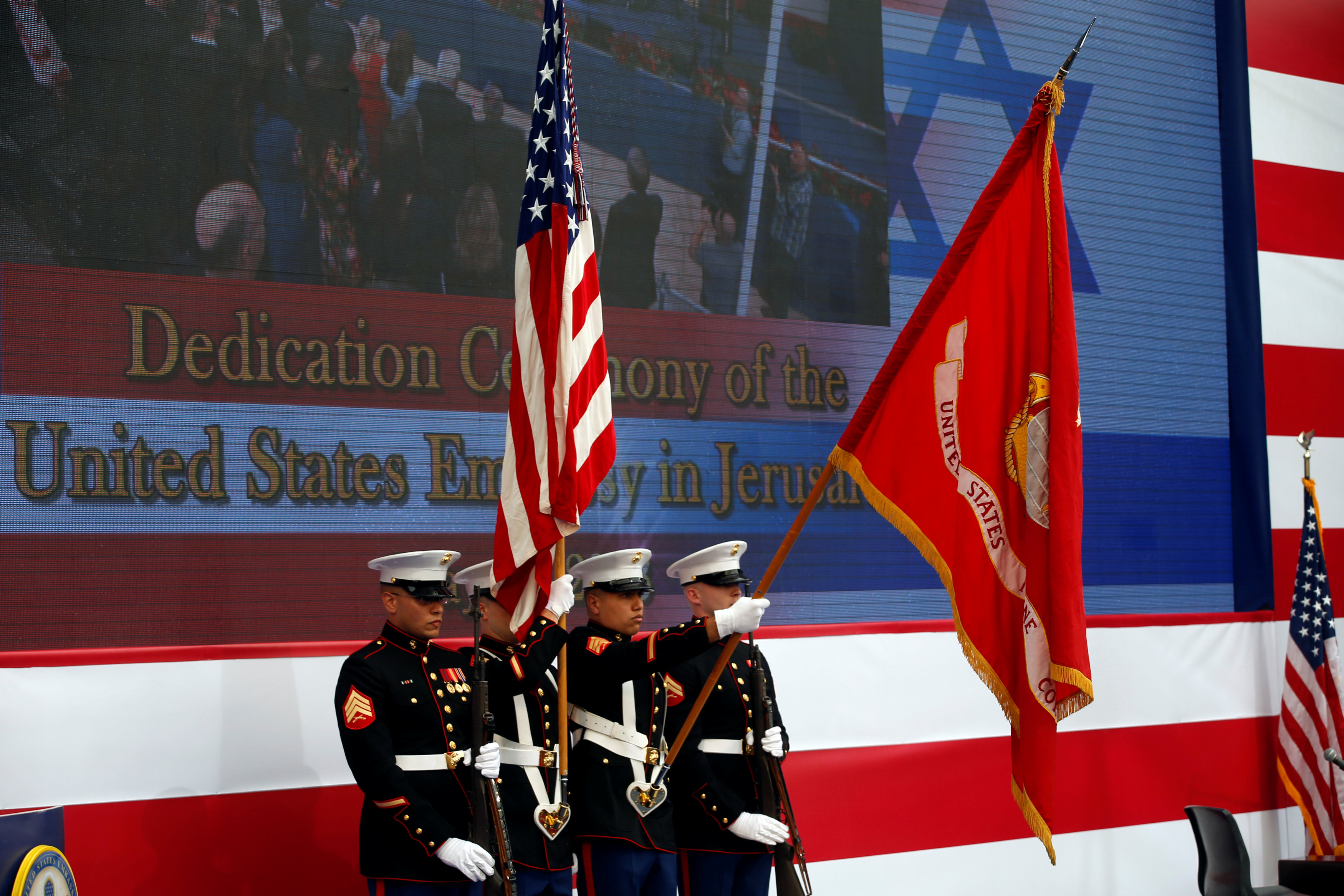 U.S. marines take part in the dedication ceremony of the new U.S. embassy in Jerusalem, May 14, 2018. REUTERS/Ronen Zvulun