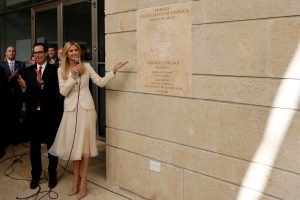 Senior White House Adviser Ivanka Trump and U.S. Treasury Secretary Steven Mnuchin stand next to the dedication plaque at the U.S. embassy in Jerusalem, during the dedication ceremony of the new U.S. embassy in Jerusalem, May 14, 2018. REUTERS/Ronen Zvulun