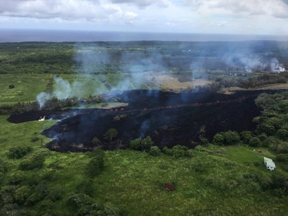 A view of Fissure 17, is seen looking southward from Hwy 132, in Hawaii, U.S. May 13, 2018. Picture taken on May 13, 2018. USGS/Handout via REUTERS