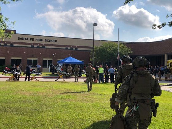 First responders following a shooting at Santa Fe High School in Santa Fe, Texas, May 18, 2018. Courtesy Harris County Sheriff's Office/via REUTERS