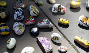 Painted stones are left in tribute in St Anne's Square on the first anniversary of the Manchester Arena bombing, in Manchester, Britain, May 22, 2017. REUTERS/Darren Staples