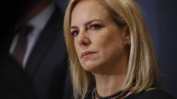 U.S. Secretary of Homeland Security Kirstjen Nielsen speaks to reporters after she, FBI Director Christopher Wray and Director of National Intelligence Daniel Coats briefed members of the U.S. House of Representatives on election security at the U.S. Capitol in Washington, U.S., May 22, 2018. REUTERS/Leah Millis