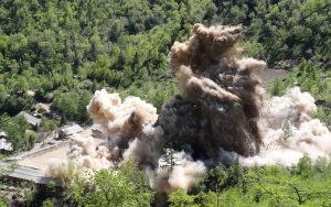 A command post of Punggye-ri nuclear test ground is blown up during the dismantlement process in Punggye-ri, North Hamgyong Province, North Korea May 24, 2018. Picture taken May 24, 2018. News1/Pool via REUTERS