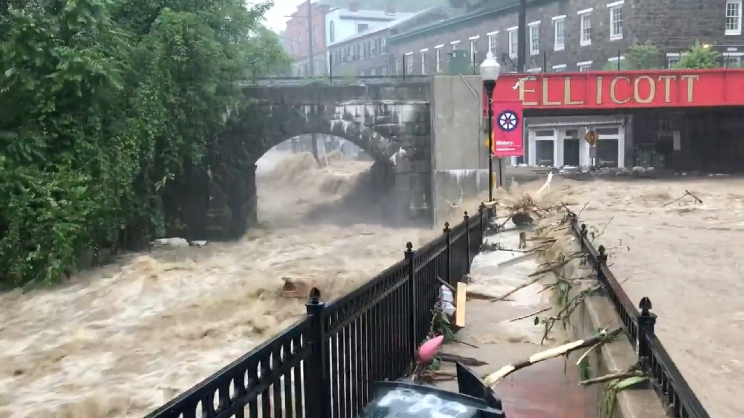 Flooding is seen in Ellicott City, Maryland, U.S. May 27, 2018, in this still image from video from social media. Todd Marks/via REUTERS