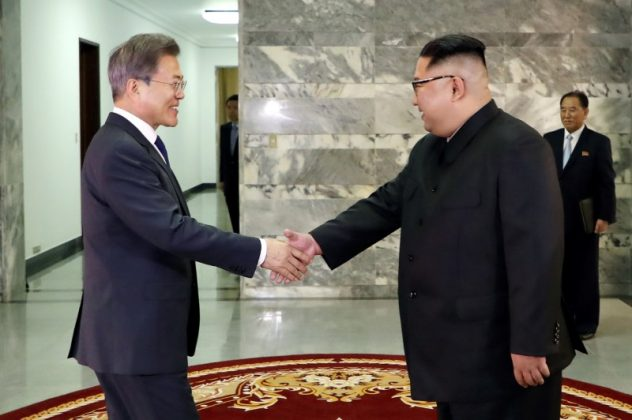 FILE PHOTO: South Korean President Moon Jae-in is greeted by North Korean leader Kim Jong Un during their summit at the truce village of Panmunjom, North Korea, in this handout picture provided by the Presidential Blue House on May 26, 2018. Picture taken on May 26, 2018. The Presidential Blue House /Handout via REUTERS