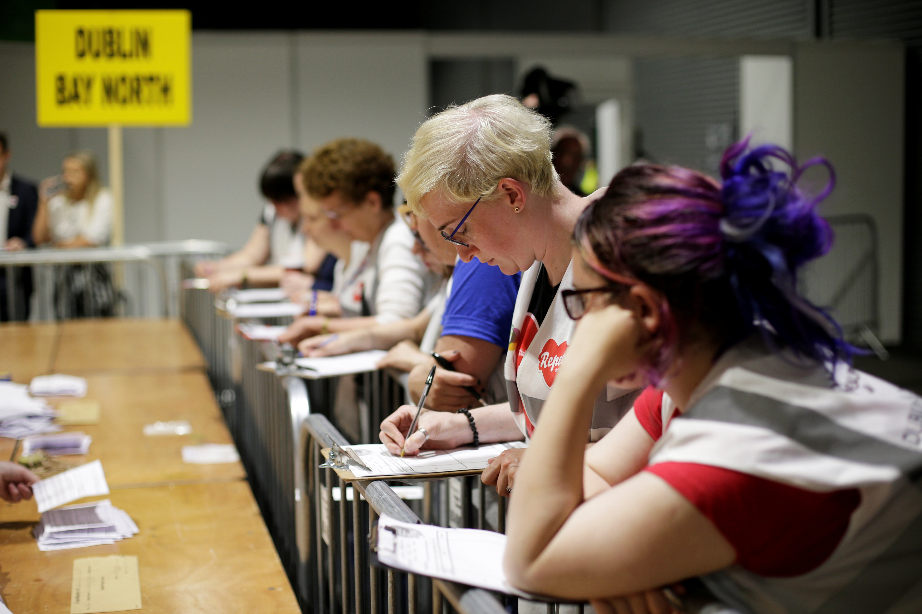 Observers watch as votes are tallied folowing yesterday's referendum on liberalizing abortion law, in Dublin, Ireland, May 26, 2018. REUTERS/Max Rossi