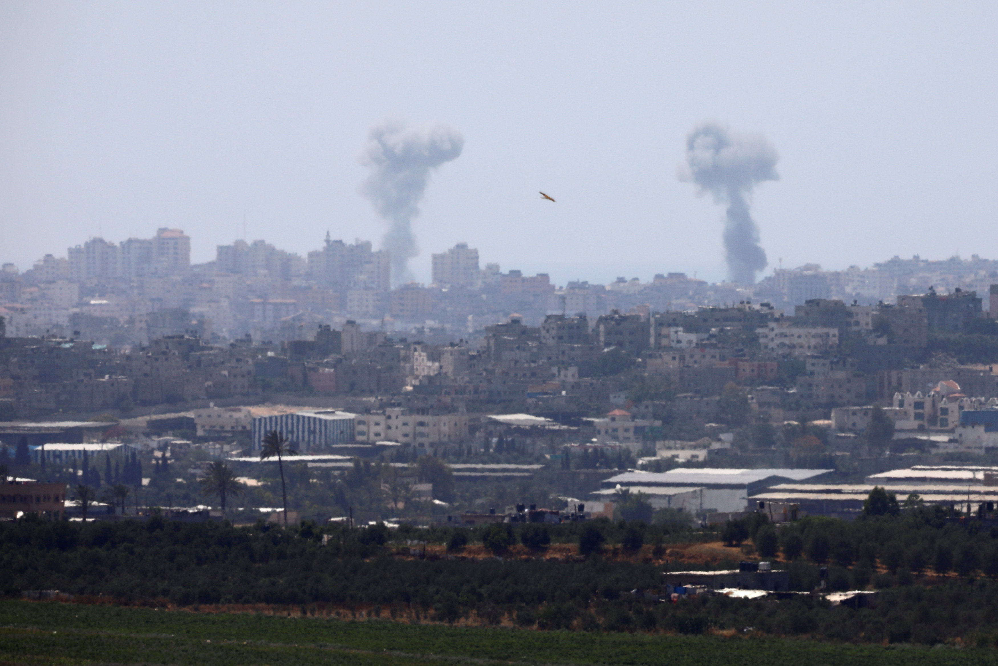 Smoke rises following an Israeli air strike in the Gaza Strip, as seen from the Israeli side of the border between Israel and Gaza, May 29, 2018. REUTERS/Amir Cohen