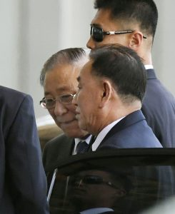 FILE PHOTO: Kim Yong Chol (front), vice chairman of the ruling Workers' Party's Central Committee and formerly head of a top North Korean military intelligence agency, arrives at the international airport in Beijing, China in this photo taken by Kyodo on May 30, 2018. Mandatory credit Kyodo/via REUTERS