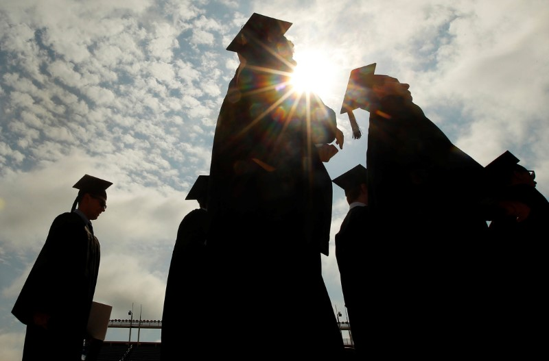 FILE PHOTO: Graduating students arrive for Commencement Exercises at Boston College in Boston, Massachusetts, U.S. on May 20, 2013. REUTERS/Brian Snyder/File Phot