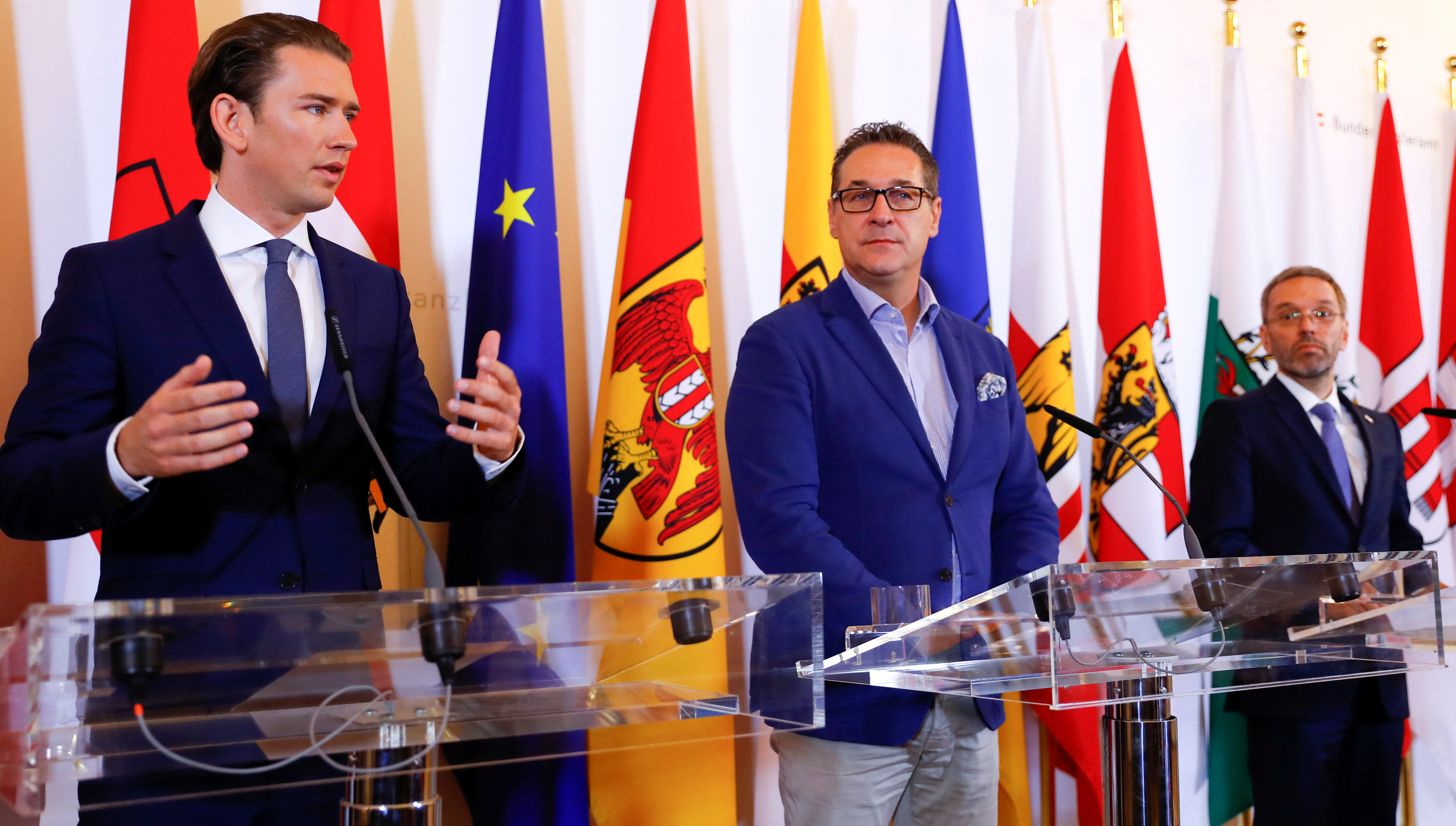 Austrian Chancellor Sebastian Kurz, Vice Chancellor Heinz-Christian Strache and Interior Minister Herbert Kickl attend a news conference in Vienna, Austria June 8, 2018. REUTERS/Leonhard Foeger