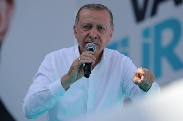 Turkish President Tayyip Erdogan addresses his supporters during an election rally in Ankara, Turkey, June 9, 2018. REUTERS/Umit Bektas