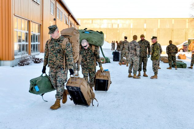 FILE PHOTO: U.S. Marines, who are to attend a six-month training to learn about winter warfare, arrive in Stjordal, Norway January 16, 2017. NTB Scanpix/Ned Alley/via REUTERS/File Photo