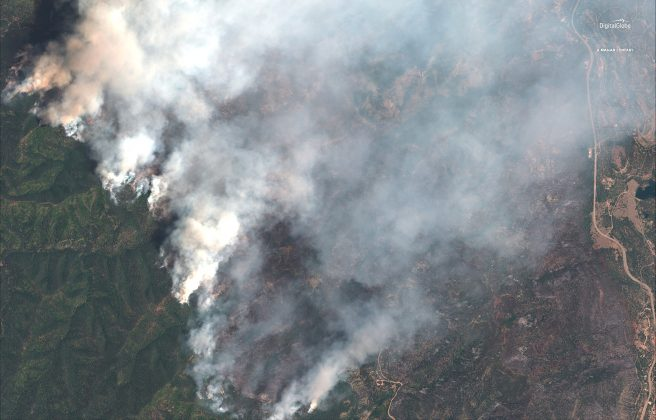 A satellite image shows the 416 Wildfire burning west of Highway 550 and northwest of Hermosa, Colorado, U.S., June 10, 2018. Satellite image ©2018 DigitalGlobe, a Maxar company /Handout via REUTERS