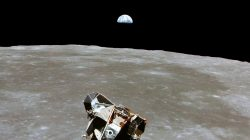 FILE PHOTO: The Apollo 11 Lunar Module ascent stage, with astronauts Neil A. Armstrong and Edwin E. Aldrin Jr. aboard, is photographed from the Command and Service Modules in lunar orbit in this July 1969 file photo. Courtesy NASA/Handout via REUTERS