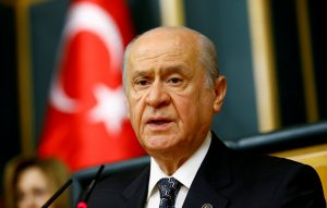 FILE PHOTO: Nationalist Movement Party (MHP) leader Devlet Bahceli addresses his party MPs during a meeting at the Turkish parliament in Ankara, Turkey, June 14, 2016. REUTERS/Umit Bektas//File Photo
