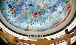 The name place sign of the United States is pictured one day after the U.S. announced their withdraw during a session of the Human Rights Council at the United Nations in Geneva, Switzerland June 20, 2018. Picture taken with a fisheye lens. REUTERS/Denis Balibouse
