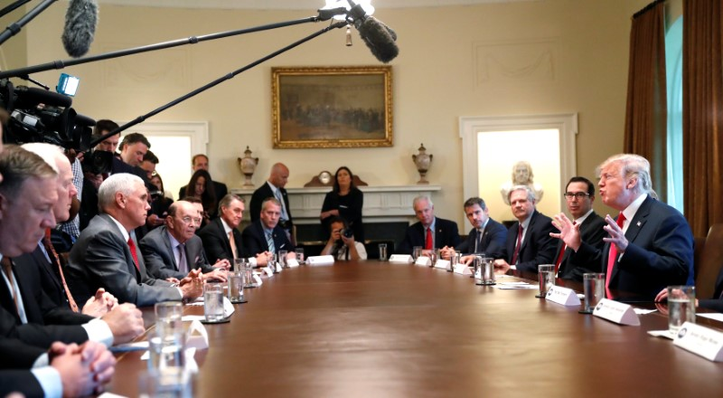 U.S. President Donald Trump participates in a Cabinet meeting, where he discussed immigration policy at the White House in Washington, U.S., June 20, 2018. REUTERS/Leah Millli