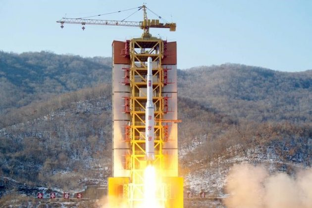 FILE PHOTO: A North Korean long-range rocket is launched into the air at the Sohae rocket launch site, North Korea, in this photo released by Kyodo February 7, 2016. Mandatory credit REUTERS/Kyodo