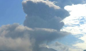 Shinmoedake peak erupting between Miyazaki and Kagoshima prefectures, is seen in southwestern Japan, in this photo taken by a remote camera and released by Kyodo June 22, 2018.Mandatory credit Kyodo/via REUTERS ATTENTION EDITORS - THIS IMAGE HAS BEEN SUPPLIED BY A THIRD PARTY. MANDATORY CREDIT. JAPAN OUT. NO COMMERCIAL OR EDITORIAL SALES IN JAPAN.