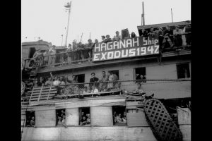 "Illegal Jewish immigrants from Europe are seen on the ship ""Exodus"" in Haifa port in this July 18, 1947 file photo released by the Israeli Government Press Office (GPO) and obtained by Reuters on June 18, 2018. GPO/Hans Pinn/Handout via REUTERS"