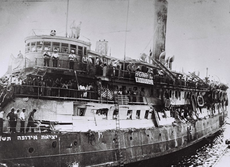 "Illegal Jewish immigrants from Europe are seen on the ship ""Exodus"" in Haifa port in this March 22, 1947 file photo released by the Israeli Government Press Office (GPO) and obtained by Reuters on June 18, 2018. GPO/Frank Shershel/Handout via REUTERS"