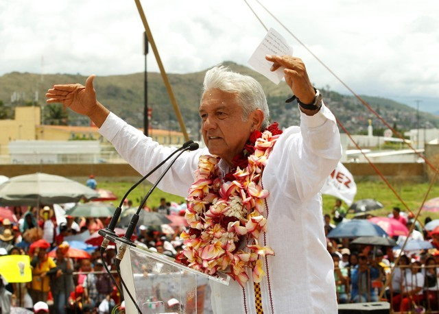 FILE PHOTO: Mexico's presidential front-runner Andres Manuel Lopez Obrador of the National Regeneration Movement (MORENA) addresses supporters in Oaxaca, Mexico June 16, 2018. REUTERS/Jorge Luis Plata