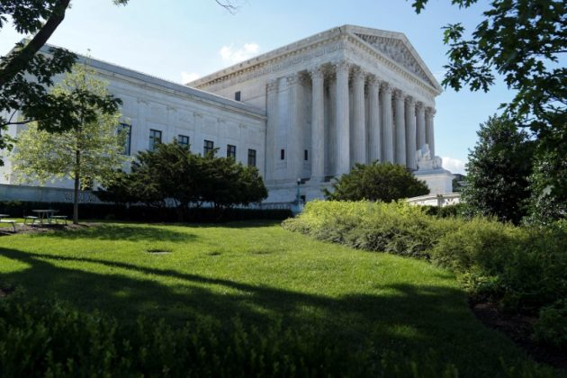 Trees cast shadows outside the U.S. Supreme Court in Washington, U.S., June 25, 2018. REUTERS/Toya Sarno Jordan