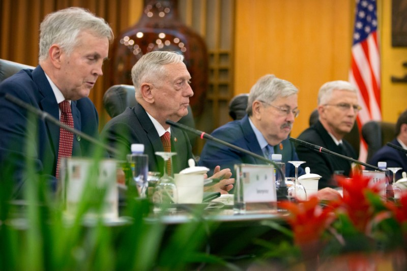U.S. Defense Secretary Jim Mattis, second from left, speaks during a meeting with China's Defense Minister Wei Fenghe at the Bayi Building in Beijing, China, June 27, 2018. Mark Schiefelbein/Pool via REUTERS