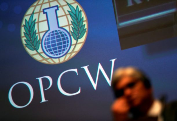 The logo of the Organisation for the Prohibition of Chemical Weapons (OPCW) is seen during a special session in the Hague, Netherlands June 26, 2018. REUTERS/Yves Herman