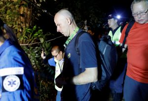 British diver Richard William Stanton arrives to the Tham Luang caves during a search for the members of an under-16 soccer team and their coach, in the northern province of Chiang Rai, Thailand, June 27, 2018. REUTERS/Soe Zeya T