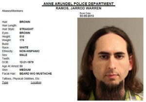 Jarrod Ramos, suspected of killing five people at the offices of the Capital Gazette newspaper office in Annapolis, Maryland, U.S., June 28, 2018 is seen in this 2013 Anne Arundel Police Department booking photo obtained from social media. Social media via REUTERS