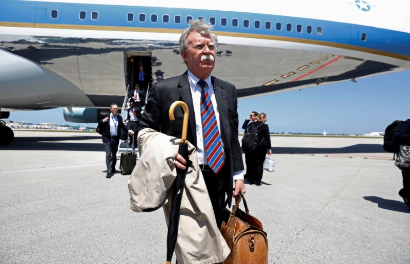 FILE PHOTO: White House National Security Advisor John Bolton steps from Air Force One upon U.S. President Donald Trump's arrival in West Palm Beach, Florida, U.S., April 16, 2018. REUTERS/Kevin Lamarque/File P