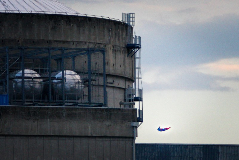 A Superman-shaped drone crashes into the EDF's Bugey nuclear plant in Bugey, near Lyon, France, July 3, 2018. Greenpeace said it had flown the drone - piloted by one of its activists - into the no-fly zone around utility EDF's Bugey nuclear plant and then crashed it against the wall of the plant's spent-fuel pool building, to demonstrate its vulnerability to outside attacks, the environmental group said. Nicolas Chauveau/Greenpeace/Handout via Reuters
