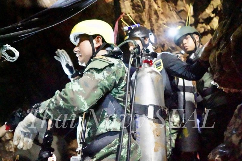 Rescue personnel work at the Tham Luang cave complex, as members of an under-16 soccer team and their coach have been found alive according to local media, in the northern province of Chiang Rai, Thailand July 4, 2018. Thai Navy Seal/Handout via REUTERS