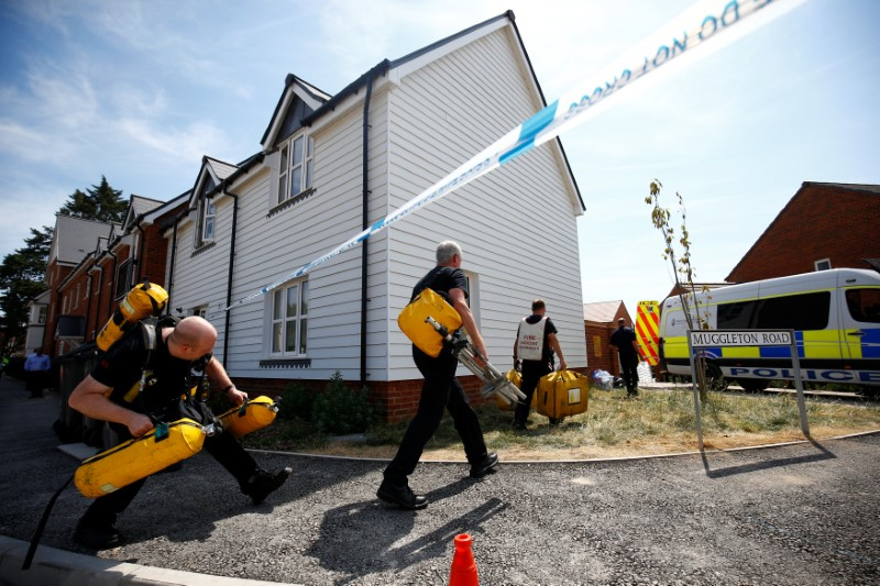 Fire and Rescue Service personel arrive with safety equipment at the site of a housing estate on Muggleton Road, after it was confirmed that two people had been poisoned with the nerve-agent Novichok, in Amesbury, Britain, July 6, 2018. REUTERS/Henry Nicholls