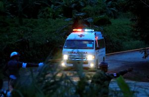 An ambulance leaves from Tham Luang cave complex in the northern province of Chiang Rai, Thailand, July 9, 2018. REUTERS/Soe Zeya Tun