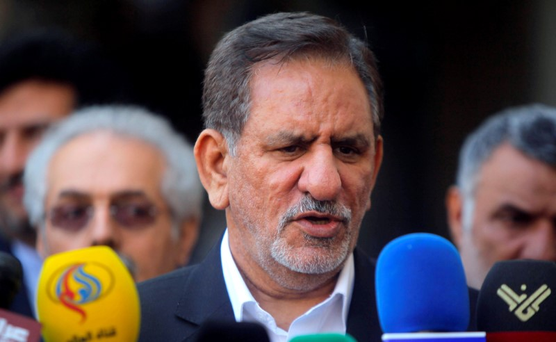 FILE PHOTO: Iranian Vice President Eshaq Jahangiri speaks during a news conference in Najaf, south of Baghdad, February 18, 2015. REUTERS/Alaa Al-Marjani/File Photo