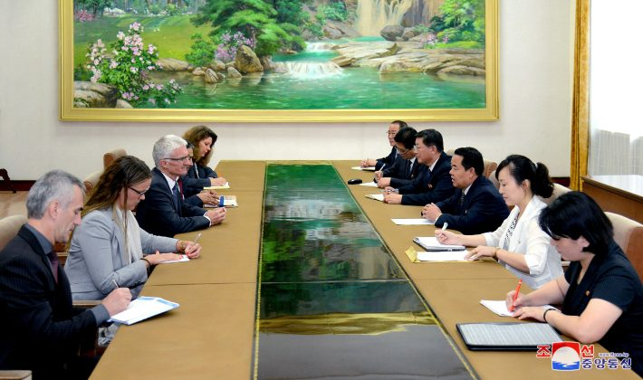 North Korea's Minister of Health Jang Jun Sang meets with the United Nations Under-Secretary-General for Humanitarian Affairs and Emergency Relief Coordinator Mark Lowcork in Pyongyang, North Korea in this photo released July 11, 2018 by North Korea's Korean Central News Agency. KCNA via REUTERS