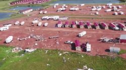 Damage from F2 tornado in Watford City, North Dakota, when tornado caused widespread destruction