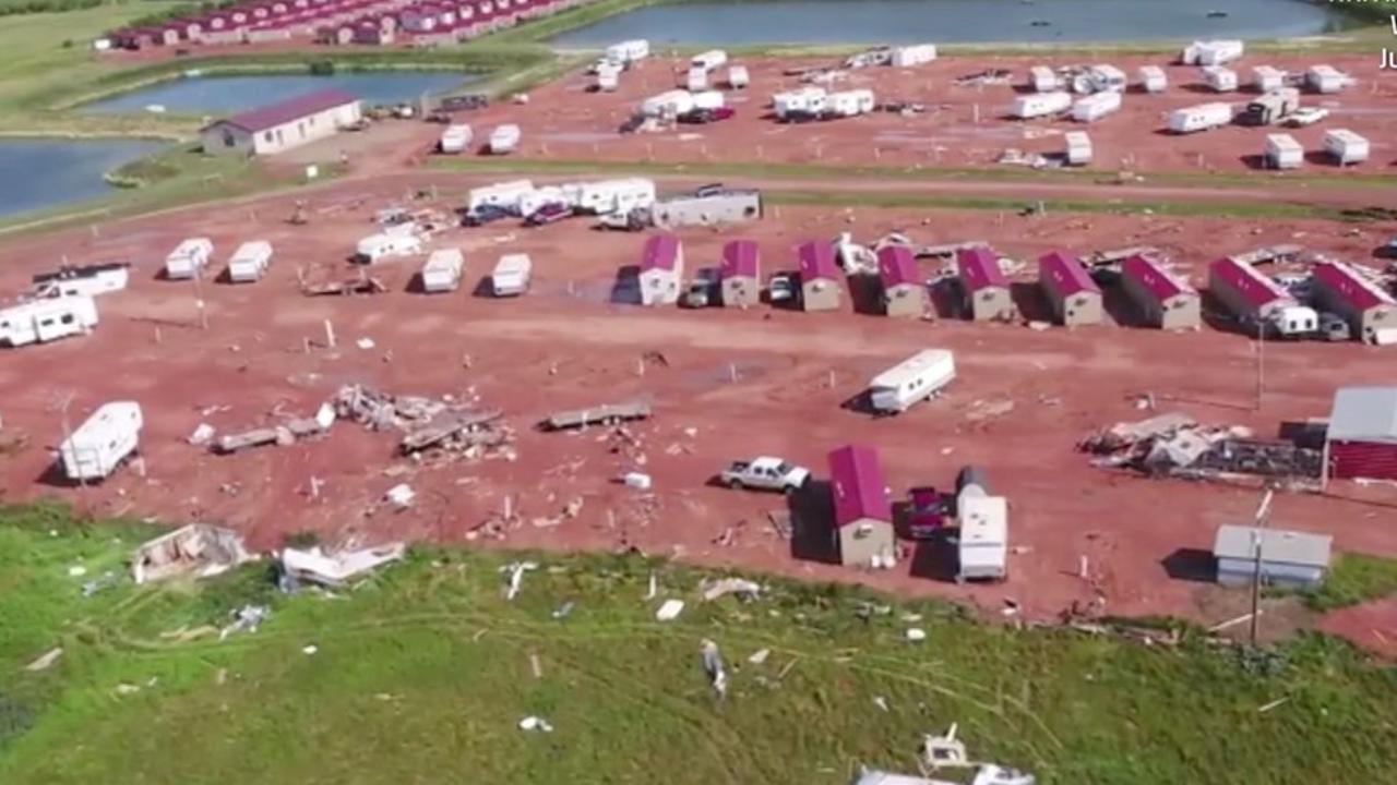 Damage from F2 tornado in Watford City, North Dakota, when tornado caused widespread destruction