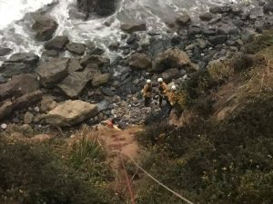 Angela Hernandez is found at the bottom of a cliff in Monterey County, California, July 13, 2018, in picture obtained via social media. Picture taken July 13, 2018. Monterey County Sheriff's Office/via REUTERS