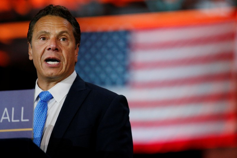 FILE PHOTO: New York Governor Andrew Cuomo speaks during an announcement in New York City, U.S., August 17, 2017. REUTERS/Brendan McDermid
