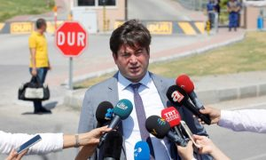 Ismail Cem Halavurt, lawyer of the jailed pastor Andrew Brunson, talks to media in front of the Aliaga Prison and Courthouse complex in Izmir, Turkey July 18, 2018. REUTERS/Kemal A