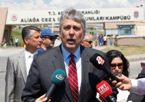 Philip Kosnett, U.S. Charge d'affaires in Turkey, talks to media in front of the Aliaga Prison and Courthouse complex in Izmir, Turkey July 18, 2018. REUTERS/Kemal Aslan
