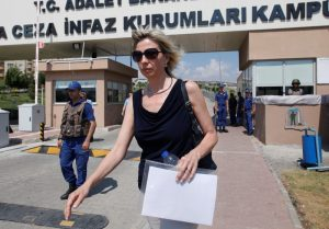 Jailed U.S. pastor Andrew Brunson's wife Norine Brunson leaves from Aliaga Prison and Courthouse complex in Izmir, Turkey July 18, 2018. REUTERS/Kemal Aslan