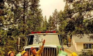 U.S. Forest Service respond to a wilfire in Mariposa County, California, U.S., July 17, 2018 in this still image taken from a social media video obtained July 19, 2018. ERIC STROH/via REUTERS