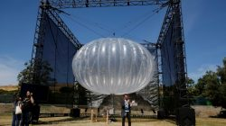 FILE PHOTO: A Google Project Loon internet balloon is seen at the Google I/O 2016 developers conference in Mountain View, California May 19, 2016. REUTERS/Stephen Lam/File Photo