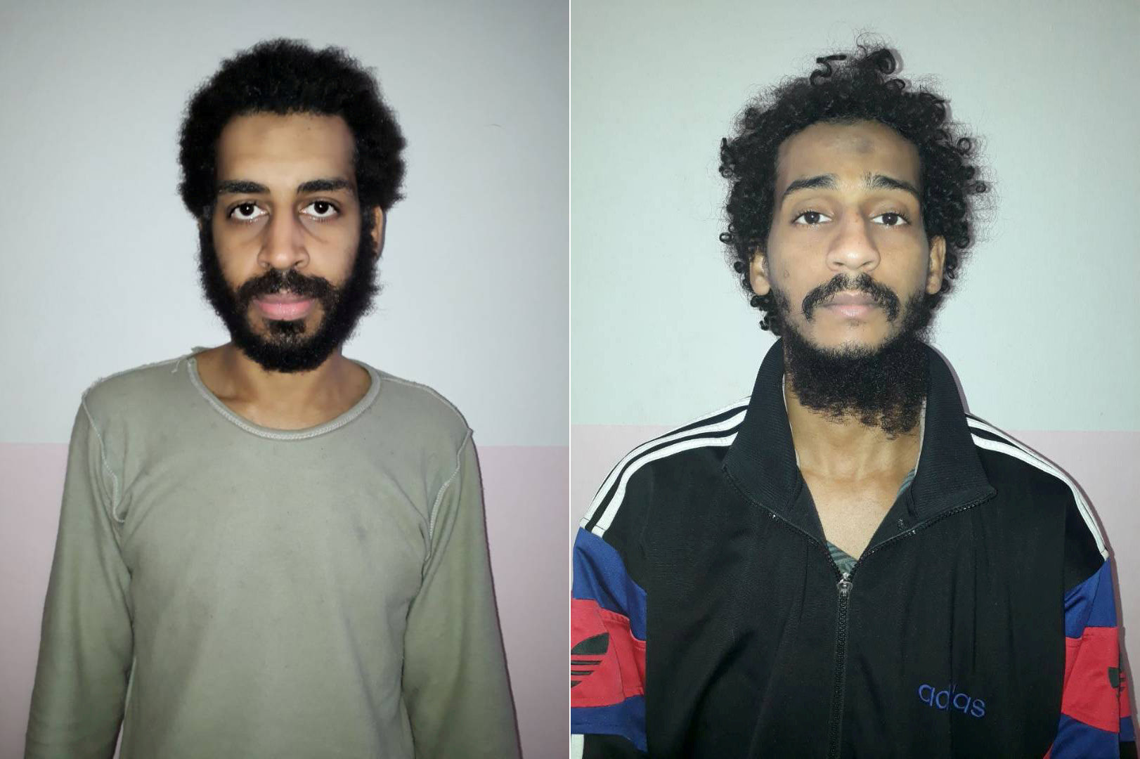 FILE PHOTO: A combination picture shows Alexanda Kotey and Shafee Elsheikh, who the Syrian Democratic Forces (SDF) claim are British nationals, in these undated handout pictures in Amouda, Syria released February 9, 2018. Syrian Democratic Forces/Handout via REUTERS