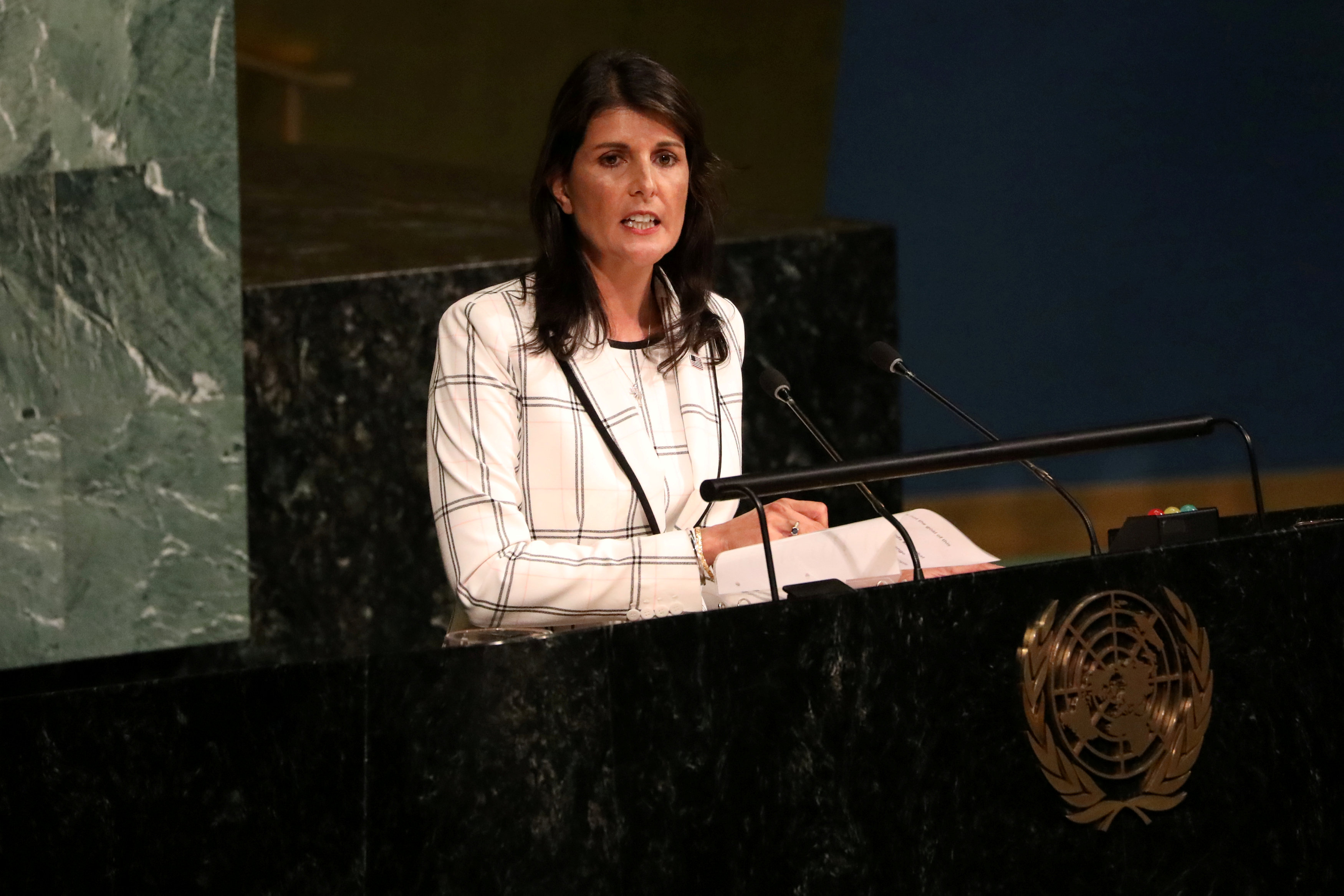 FILE PHOTO: U.S. Ambassador to the United Nations Nikki Haley addresses a United Nations General Assembly meeting ahead of a vote on a draft resolution that would deplore the use of excessive force by Israeli troops against Palestinian civilians at U.N. headquarters in New York, U.S., June 13, 2018. REUTERS/Mike Segar/File Photo