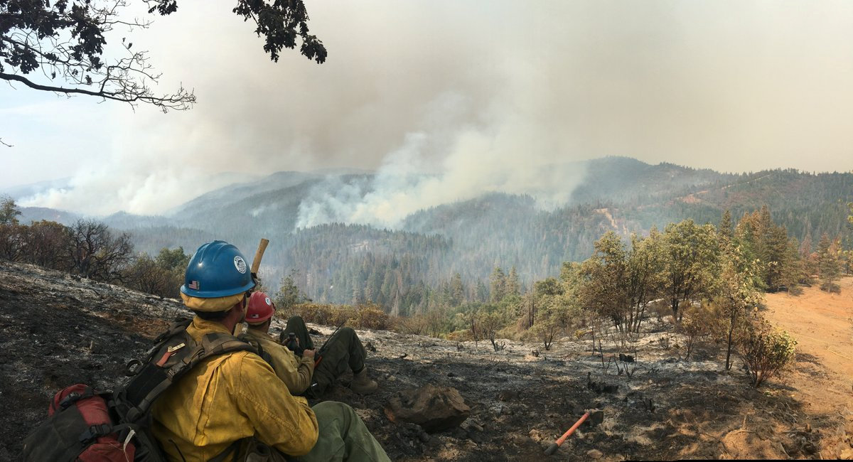 The Sierra Hotshots, from the Sierra National Forest, are responding on the front lines of the Ferguson Fire in Yosemite in this US Forest Service photo from California, U.S. released on social media on July 22, 2018. Courtesy USDA/US Forest Service, Sierrra Hotshots/Handout via REUTERS
